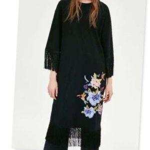 Zara Trafaluc Black Fringe Embroidered Dress Med